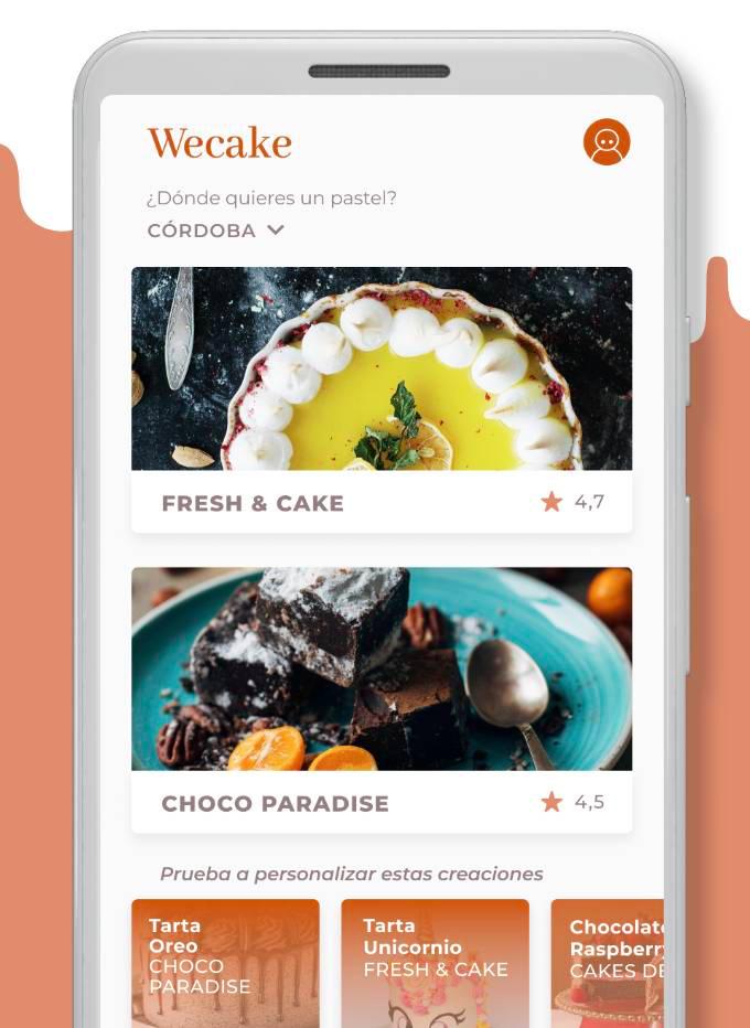 wecake, aplicacion para pedir tartas a domicilio