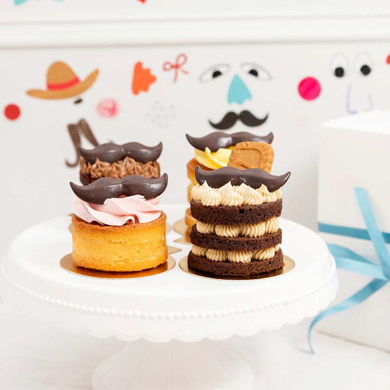Las mini tartas con bigotes de chocolate de Mi Habitación Favorita, pastelería de Zaragoza