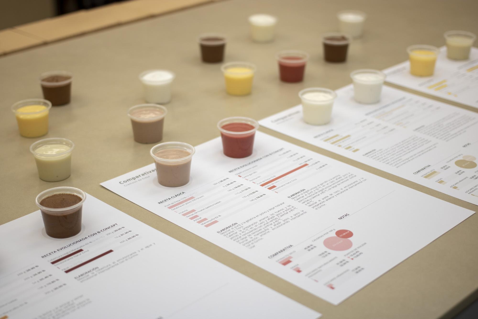 Una muestra de las comparativas de sabores y recetas en B Concept, el método de formación de Jordi Bordas
